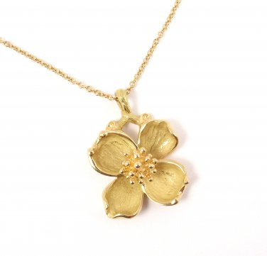 "Rare Vintage Tiffany & Co 18K Gold Dogwood Flower Pendant Chain Necklace 16"" w/box"