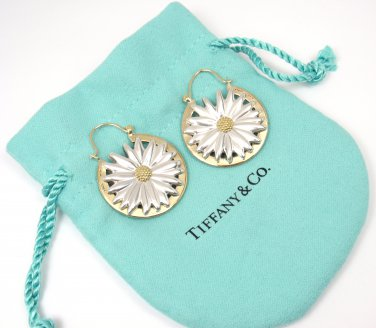 Rare Vintage Tiffany & Co Sterling Silver 18K Gold Large Daisy Earrings