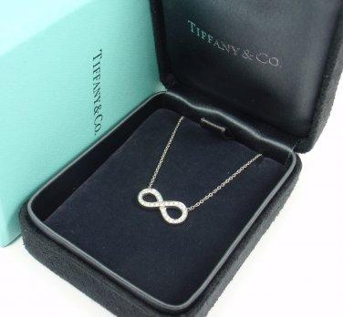 Tiffany & Co Platinum 950 Infinity 0.10ct Diamond Pendant Necklace w/box