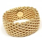 $2200 Tiffany & Co 18K Yellow Gold Somerset WIDE Mesh Band Ring Size 11