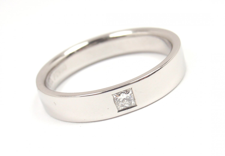 Tiffany Amp Co Mens 4mm Platinum Diamond Wedding Band Ring