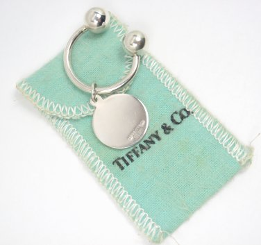 Vinage Authentic Tiffany & Co Makers Sterling Silver Round Tag Keyring Keychain