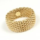 Tiffany & Co 18K Yellow Gold Somerset WIDE Mesh Band Ring Size 7.5