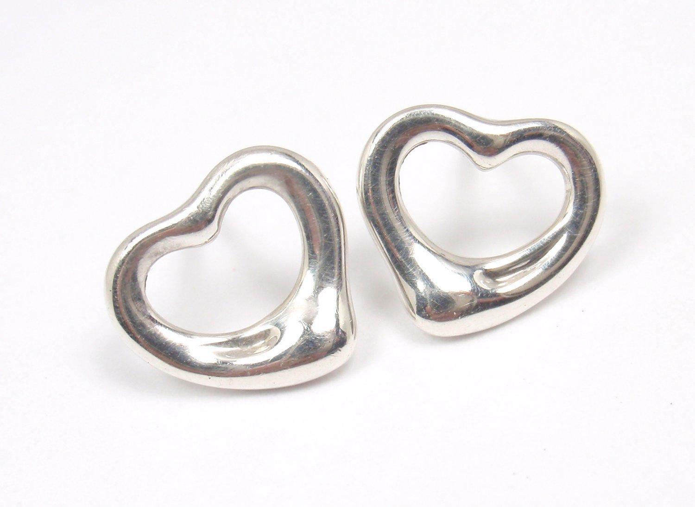 Tiffany & Co Elsa Peretti Sterling Silver Open Heart Stud Earrings SPAIN