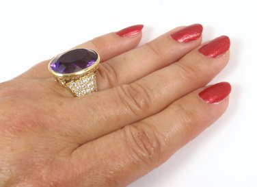 $28500 Vintage Tiffany & Co Picasso 18K Gold Amethyst Diamond Ring Size 6.5 w/box