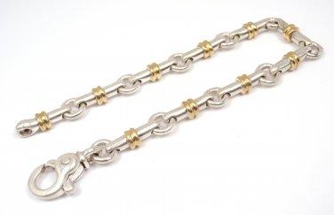 """RARE Vintage Tiffany & Co Sterling Silver 18K Gold Bar Link Bracelet 7.5"""" ITALY"""