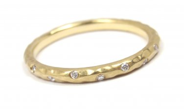 Rare Tiffany & Co Picasso Hammered 18K Gold Diamond Wedding Band Ring Size 5.5