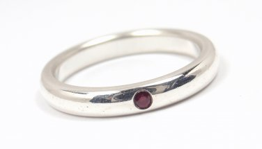Rare Tiffany & Co Peretti Sterling Silver Ruby Stacking Band Ring Size 4.5