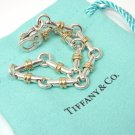 """RARE Vintage Tiffany & Co Sterling Silver 18K Gold Bar Link Bracelet 7.5"""" ITALY w/pouch"""