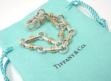 "RARE Vintage Tiffany & Co Sterling Silver 18K Gold Bar Link Bracelet 7.5"" ITALY w/pouch"
