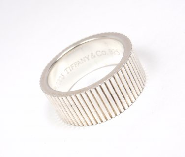 Rare Vintage 2003 Tiffany & Co Sterling Silver Coin Edge Wide Band Ring Size 6.5