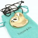 Tiffany & Co Elsa Peretti 18K Yellow Gold Full Heart Mirror Pendant Necklace Spain