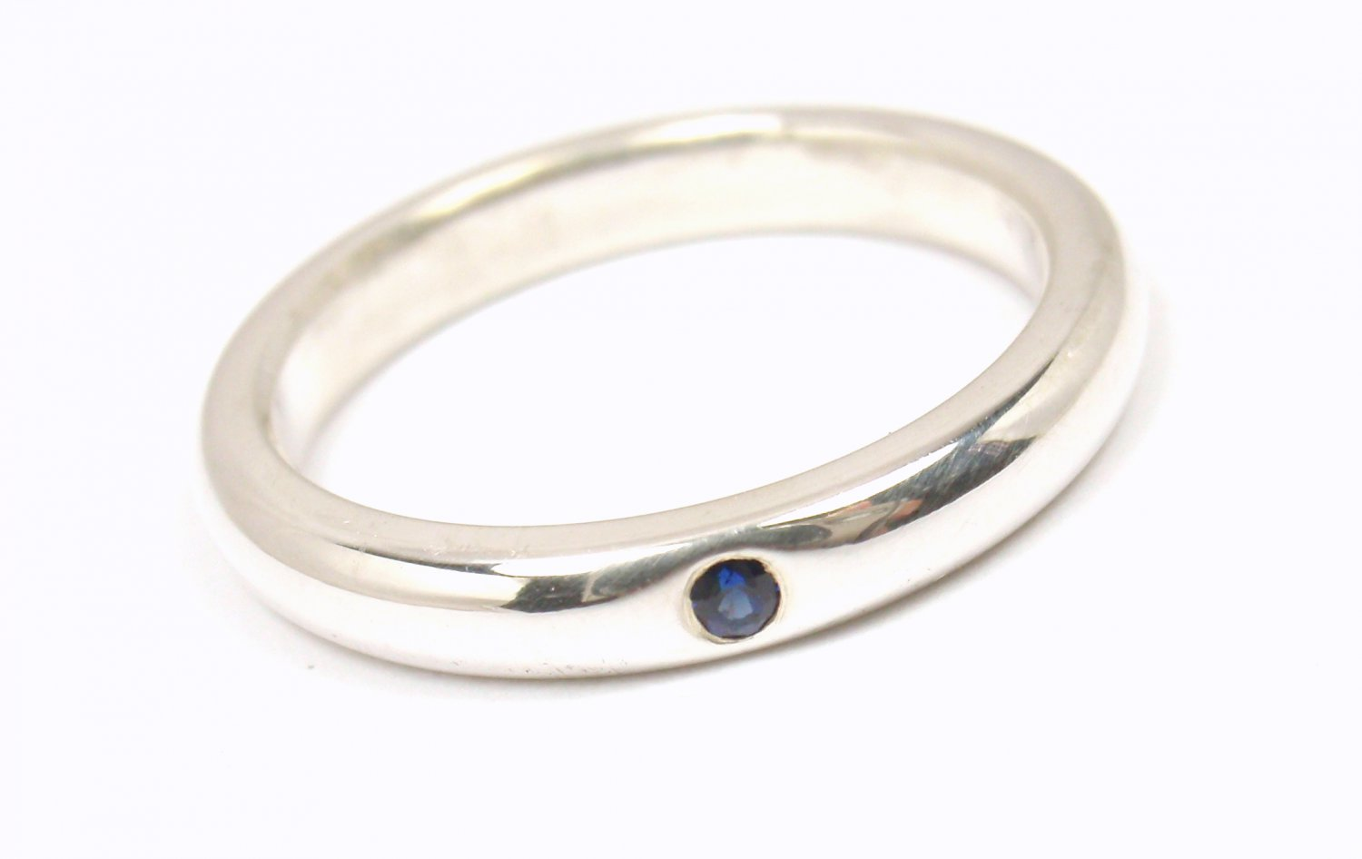 Rare Tiffany & Co Peretti Sterling Silver Blue Sapphire Stacking Band Ring Size 5