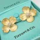 Rare Vintage Tiffany & Co 18K Gold Diamond X-Large Dogwood Flower Earrings w/box