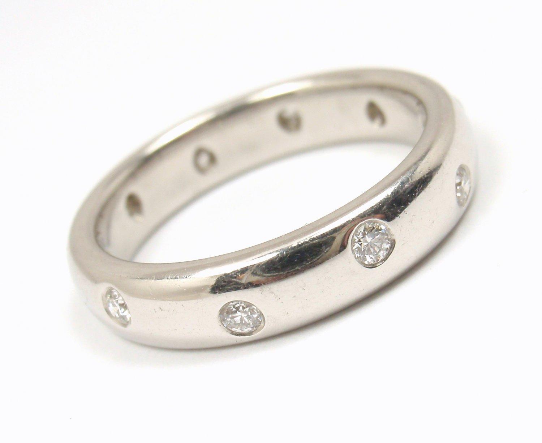 $2850 Tiffany & Co Etoile Platinum Diamond Eternity Wedding Band Ring Size 6.5