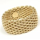 $2200 Tiffany & Co 18K Yellow Gold Somerset WIDE Mesh Band Ring Size 9