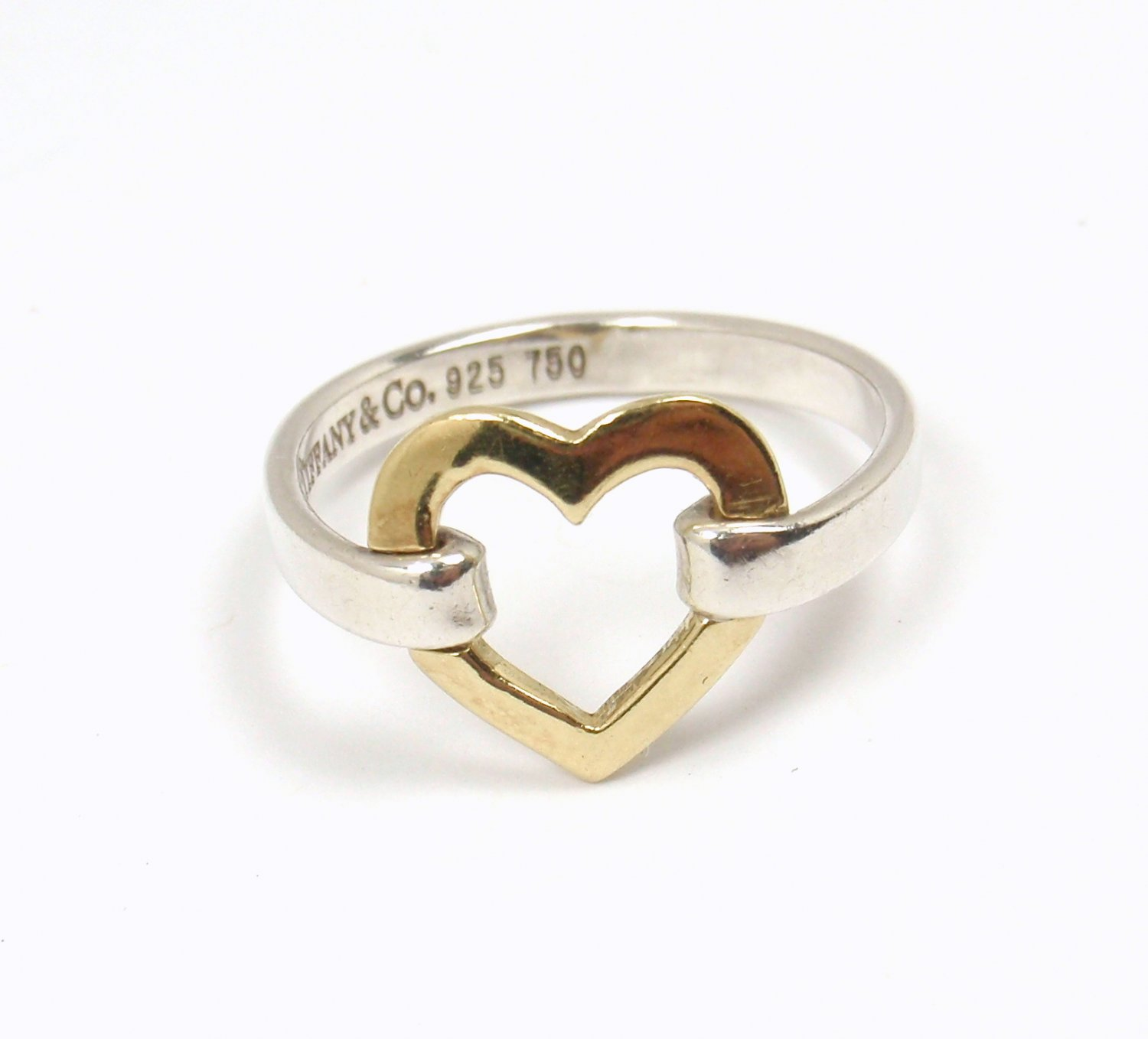 Rare Vintage Tiffany & Co Sterling Silver 18K Gold Open Heart Ring Size 6.25