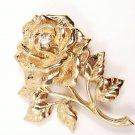 Vintage Tiffany & Co 14K Yellow Gold Diamond Rose Flower Pin Brooch