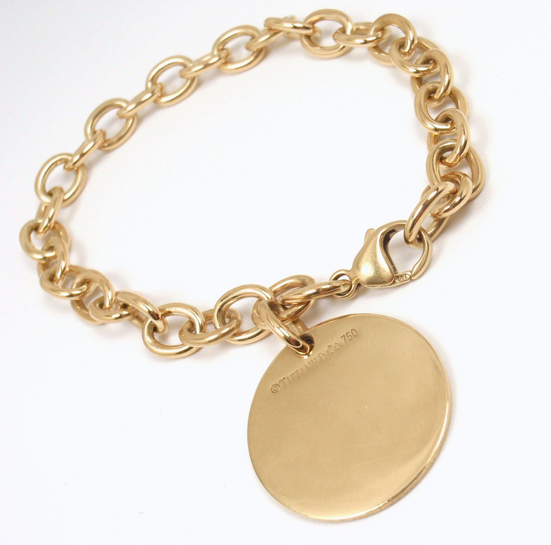 """$4000 Tiffany & Co 18K Yellow Gold Round Tag Charm Bracelet 7.5"""" w/pouch"""