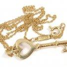"Tiffany & Co 18K Yellow Gold Heart Key Pendant Chain Necklace 16"" w/box"