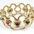 RARE Vintage Tiffany & Co Picasso Baroque 18K Gold Cabochon Multi-Gem Wide Bracelet w/box