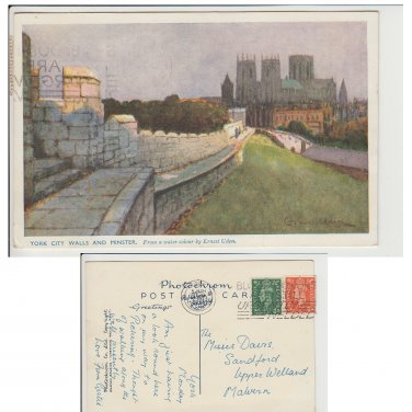 Yorkshire.  Postcard Yorkshire Postcard York City Walls and Minster
