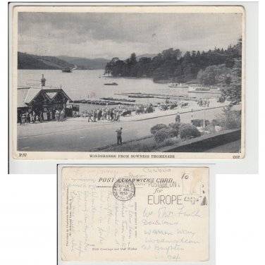Cumbria Postcard Windermere from Bowness Promenade Mauritron Item No. 21