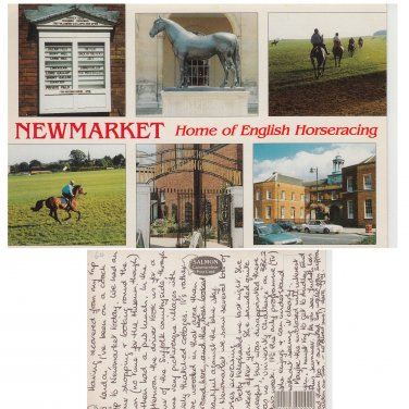 Suffolk Postcard Newmarket Home of English Horseracing Multiview Mauritron Item No. 92