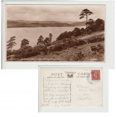 Highlands  Postcard Looking up Loch Fyne from above Strachur. Mauritron #142