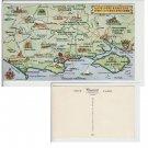 Hampshire   Postcard Map Hampshire Dorset Somerset. Mauritron #155