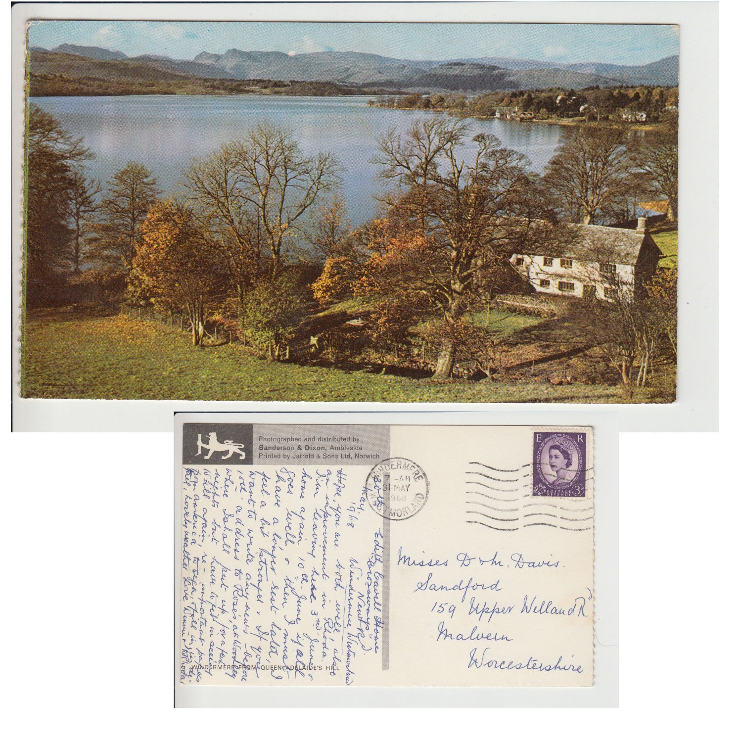 Cumbria Postcard Windermere from Queen Adelaide's Hill. Mauritron #201