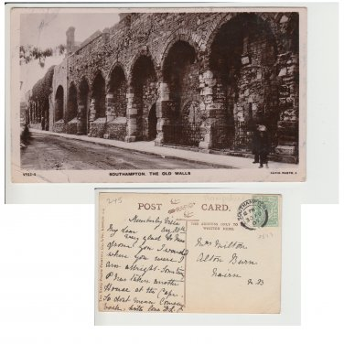 Hampshire   Postcard The Old Walls V311-1. Mauritron #229