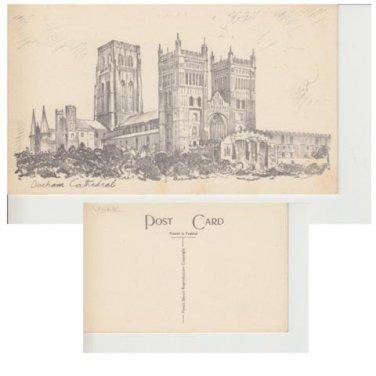 County Durham Postcard Durham Cathedral Sketch. Mauritron #285