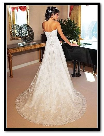 Sexy Wedding Dresses Lace Embroider Low Price Gown