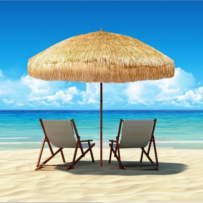 8 Foot Deluxe Tropical Island Thatched Umbrella Perfect