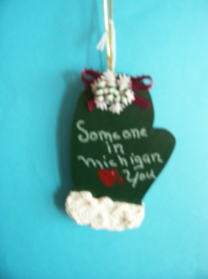 Some one loves you in Michigan ornament mitten green christmas holiday