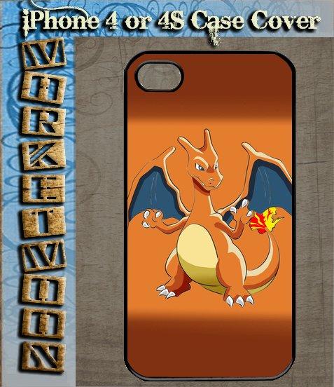 New Design Charizard Lizardon Flame Pokemon fans Black Hard Case Apple iPhone 4 / 4s
