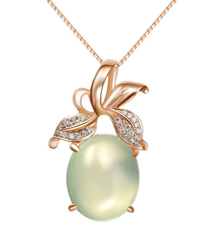 Natural 7.8ct Prehnite pendant and 18K rose gold surround with natural diamond pendant