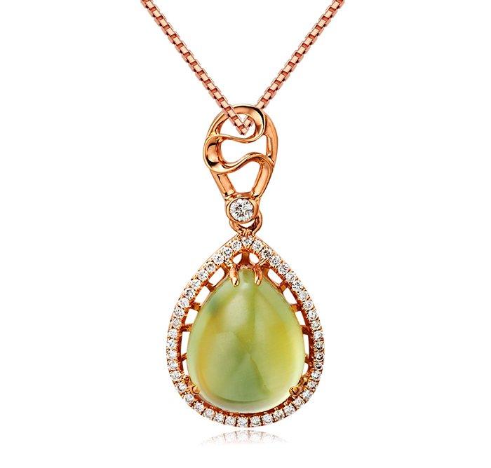 Natural 4.6ct Prehnite pendant and 18K rose gold surround with 48pcs natural diamond pendant