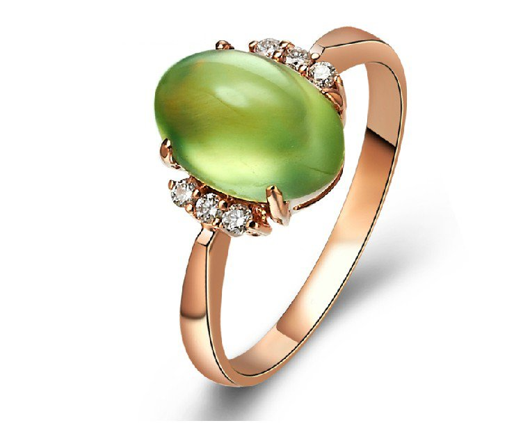 Natural 2.604ct Prehnite and Surrounding with natural diamond 18K gold rings