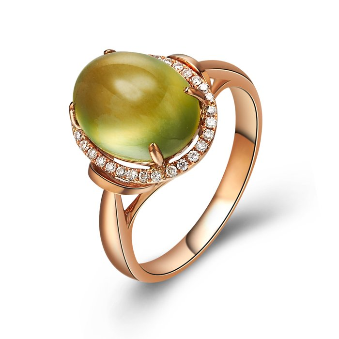 Natural 4.62ct Prehnite and Surrounding with natural diamond 18K gold rings