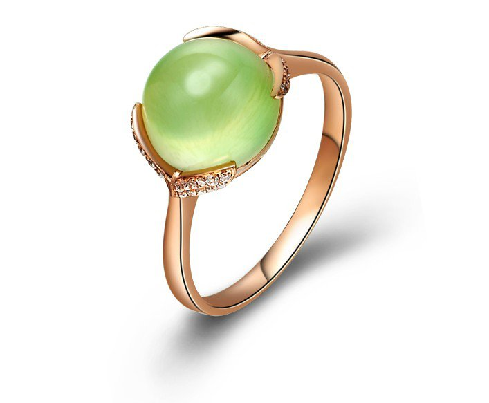 Natural 3.733ct Prehnite and Surrounding with natural diamond 18K gold rings