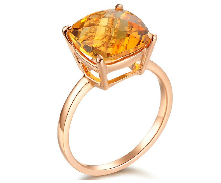 Natural 3.3ct Citrine 14K rose gold rings