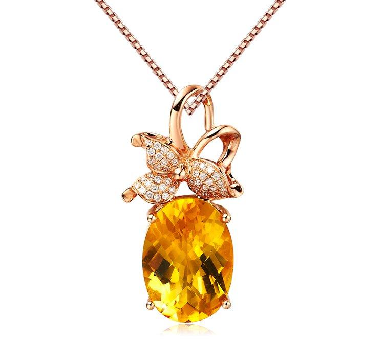 Natural 4.95ct Citrine 42pcs diamond with 18K rose gold pendant