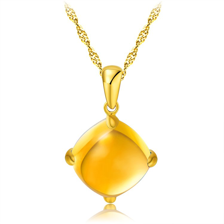 Natural 4ct Citrine 14K rose gold pendant