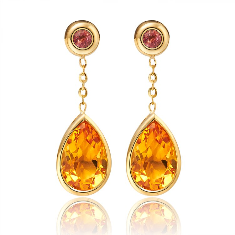 Natural Citrine stone and tourmaline with 18K yellow gold drop earrings