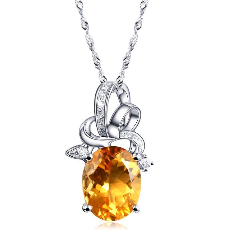 Natural 1.8ct Citrine 14pcs diamond with 18K white gold pendant