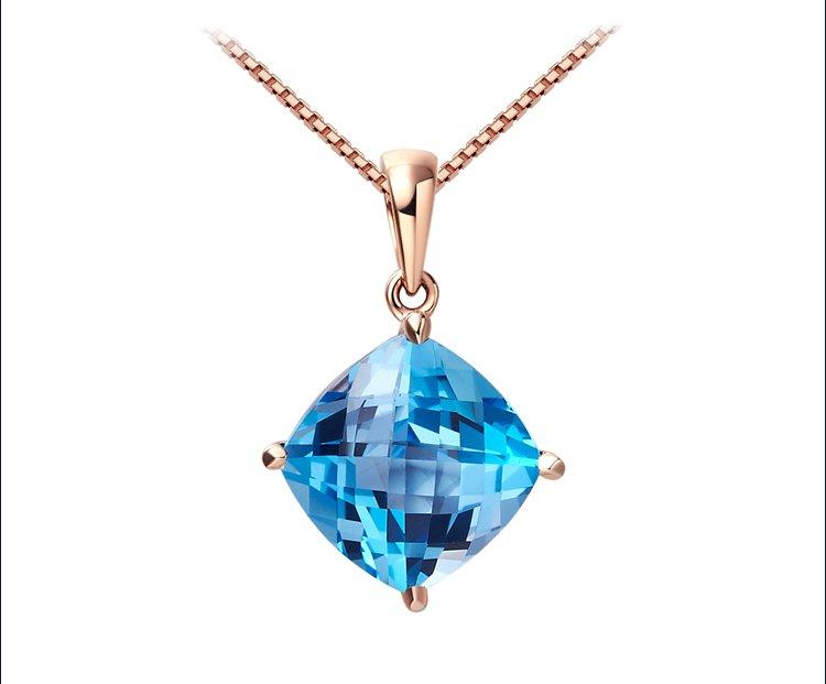 Natural 4.5ct blue topaz 14K rose gold pendant