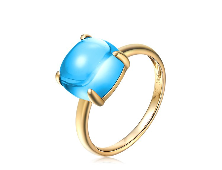 Natural 5.5ct blue topaz rings with 14K yellow gold rings