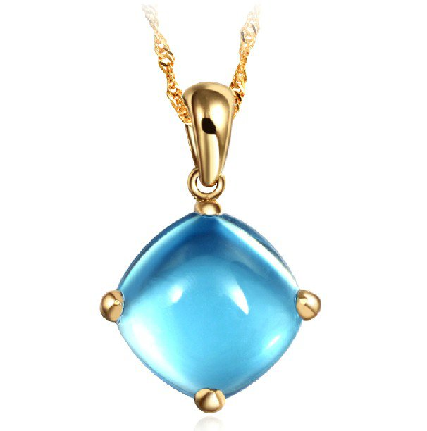 Natural 5.5ct blue topaz pendant with14K yellow gold